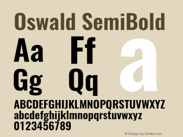 Oswald SemiBold Version 4.003图片样张