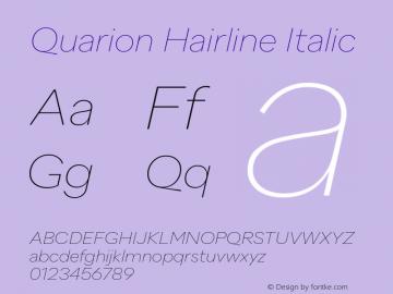 Quarion-HairlineItalic Version 1.000 | wf jerry图片样张