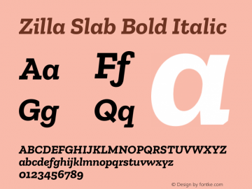 Zilla Slab Bold Bold Italic Version 1.1; 2017图片样张