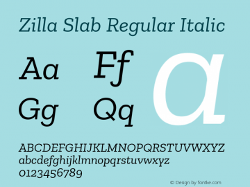 Zilla Slab Regular Italic Version 1.1; 2017; ttfautohint (v1.5)图片样张