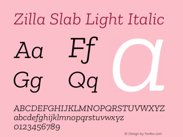 Zilla Slab Light Italic Version 1.1; 2017图片样张