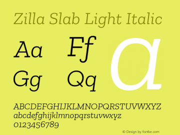 Zilla Slab Light Italic Version 1.1; 2017; ttfautohint (v1.5)图片样张