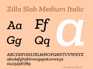 Zilla Slab Medium Italic Version 1.1; 2017; ttfautohint (v1.5)图片样张