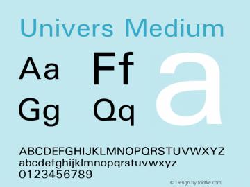 Univers Medium 19: 94021 Font Sample