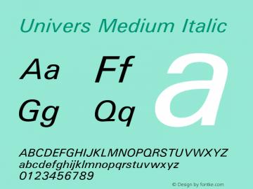Univers Medium Italic 19: 94022 Font Sample
