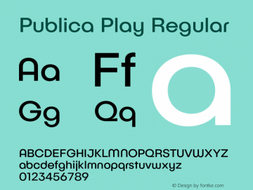 Publica Play Regular Version 1.000;PS 001.000;hotconv 1.0.88;makeotf.lib2.5.64775图片样张