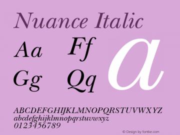 Nuance Italic Macromedia Fontographer 4.1 18.06.1995图片样张