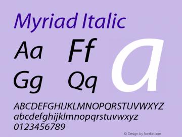 Myriad Italic Macromedia Fontographer 4.1.3 11/29/01图片样张