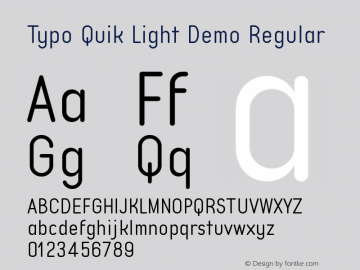 Typo Quik Light Demo Version 1.00 July 4, 2017, initial release图片样张