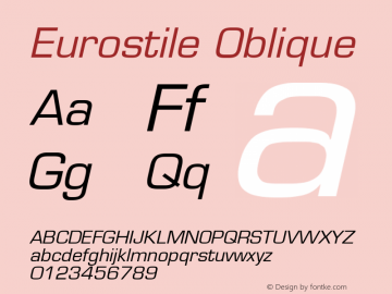 Eurostile Oblique Version 001.002图片样张