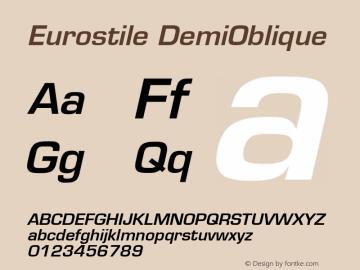Eurostile Demi Oblique Version 001.001图片样张