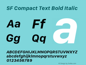 SF Compact Text Bold Italic Version 1.00 January 19, 2017, initial release图片样张