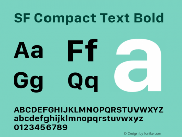 SF Compact Text Bold Version 1.00 January 19, 2017, initial release图片样张