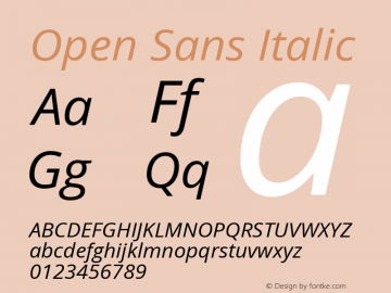 Open Sans Italic Version 1.10图片样张