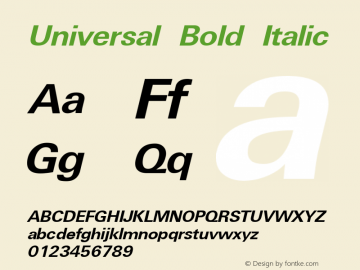 Universal Bold Italic W.S.I. Int'l v1.1 for GSP: 6/20/95图片样张