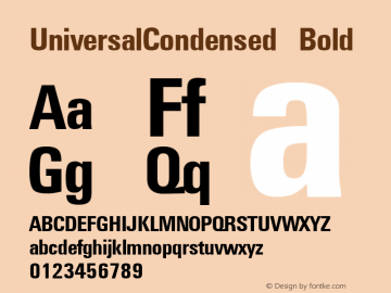 UniversalCondensed Bold W.S.I. Int'l v1.1 for GSP: 6/20/95图片样张