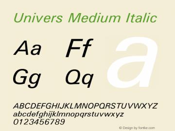 Univers Medium Italic 19: 94022: 1999 Font Sample
