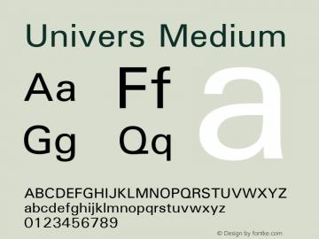 Univers Medium 19: 94021: 1999 Font Sample