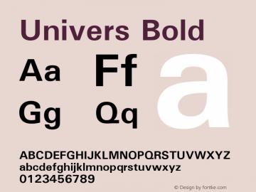 Univers Bold 19: 94023: 1999 Font Sample