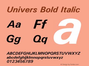 Univers Bold Italic 19: 94024: 1999 Font Sample