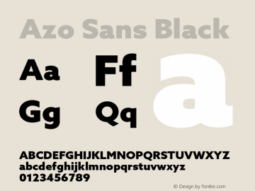 Azo Sans Black Version 2.000;PS 2.0;hotconv 1.0.70;makeotf.lib2.5.5900图片样张