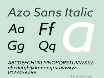 Azo Sans Italic Version 2.000;PS 2.0;hotconv 1.0.70;makeotf.lib2.5.5900图片样张