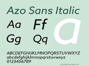 Azo Sans Italic Version 2.000;PS 2.0;hotconv 1.0.70;makeotf.lib2.5.5900图片样张
