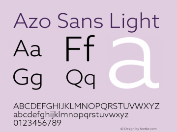 Azo Sans Light Version 2.000;PS 2.0;hotconv 1.0.70;makeotf.lib2.5.5900图片样张