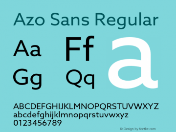 Azo Sans Version 2.000;PS 2.0;hotconv 1.0.70;makeotf.lib2.5.5900图片样张