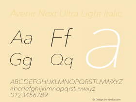 Avenir Next Ultra Light Italic 8.0d5e5图片样张