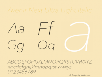 Avenir Next Ultra Light Italic 8.0d5e5图片样张