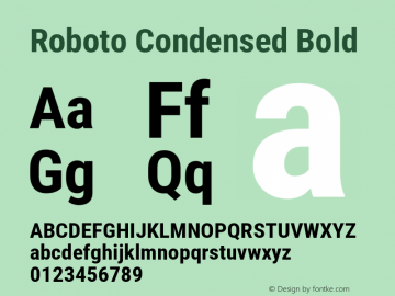 Roboto Condensed Bold Version 2.001047; 2015 Font Sample