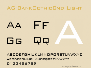 AG-BankGothicCnd Light 1.0 Fri Sep 02 16:25:59 1994 Font Sample