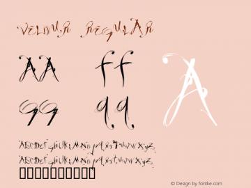 Velour Regular Macromedia Fontographer 4.1.3 10/1/98 Font Sample