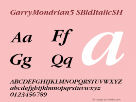 GarryMondrian5 SBldItalicSH SoHo 1.0 9/30/93 Font Sample
