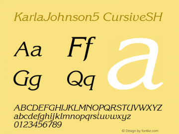 KarlaJohnson5 CursiveSH SoHo 1.0 9/30/93 Font Sample