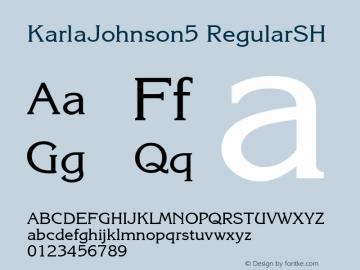 KarlaJohnson5 RegularSH SoHo 1.0 9/30/93 Font Sample