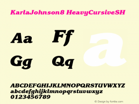KarlaJohnson8 HeavyCursiveSH SoHo 1.0 9/30/93 Font Sample