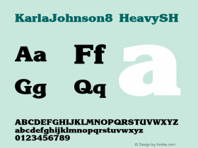 KarlaJohnson8 HeavySH SoHo 1.0 9/30/93 Font Sample