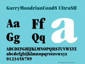 GarryMondrianCond8 UltraSH SoHo 1.0 9/30/93 Font Sample