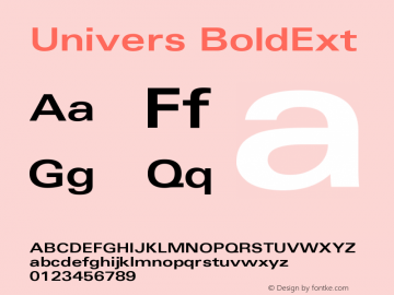 Univers 63 Bold Extended Version 001.000 Font Sample