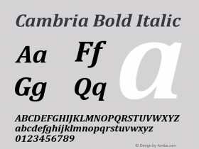 Cambria Bold Italic Version 6.98图片样张