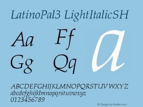LatinoPal3 LightItalicSH SoHo 1.0 9/30/93 Font Sample