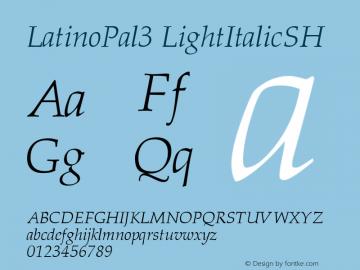 LatinoPal3 LightItalicSH SoHo 1.0 9/30/93 Font Sample