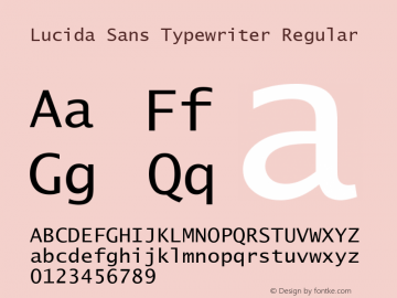 Lucida Sans Typewriter Regular Version 1.01图片样张