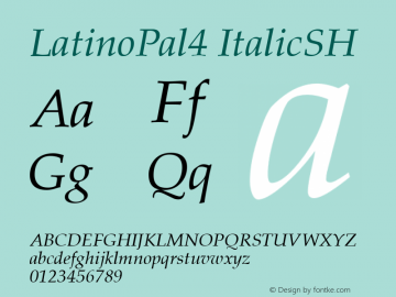 LatinoPal4 ItalicSH SoHo 1.0 10/1/93 Font Sample