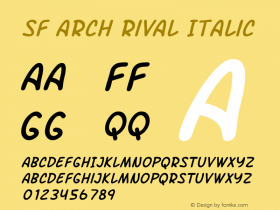 SF Arch Rival Italic Version 1.1图片样张