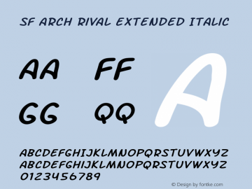 SF Arch Rival Extended Italic ver 1.0; 2000. Freeware. Font Sample