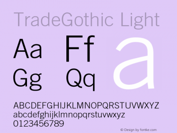 Trade Gothic Light Version 001.001图片样张