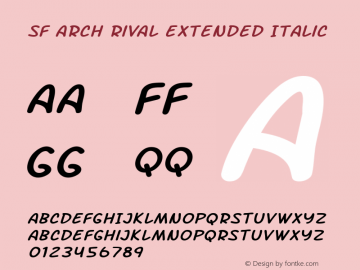 SF Arch Rival Extended Italic Version 1.1 Font Sample